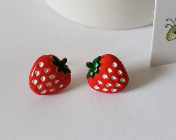 Vibrant Summer Strawberry Stud Earrings