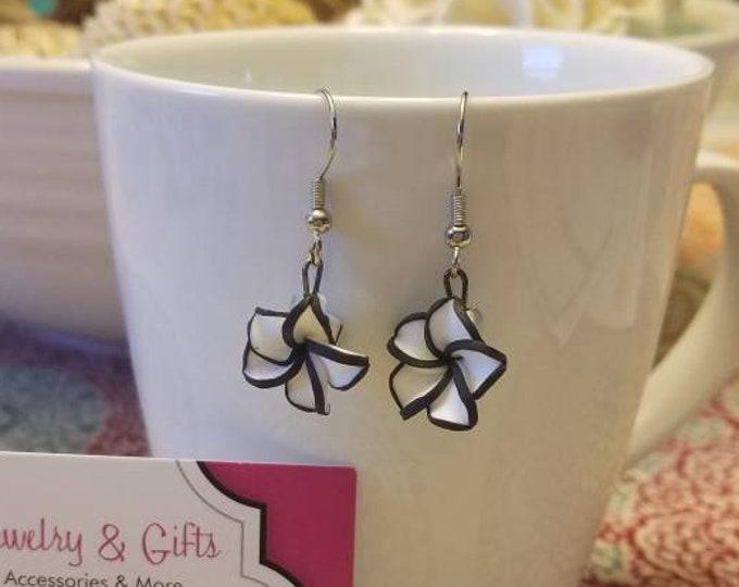 Black & White Flower Dangle Earrings