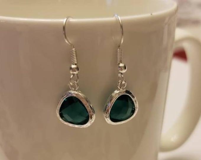 Textured Bezel Teardrop Birthstone Silver Dangle Earrings