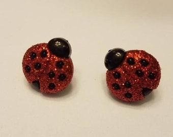 Glitter Red Ladybug Stud Earrings