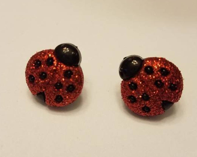 Glitter Red Ladybug Stud Earrings
