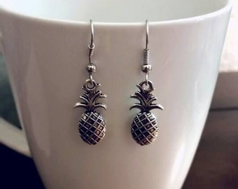 Silver Tropical Pineapple Earrings