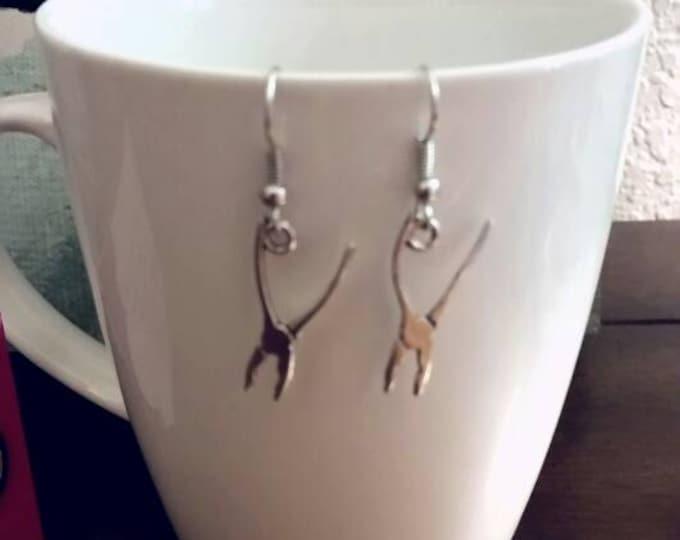 Silver Pliers Dangle Earrings