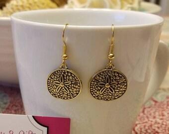 Gold Sand Dollar Dangle Earrings