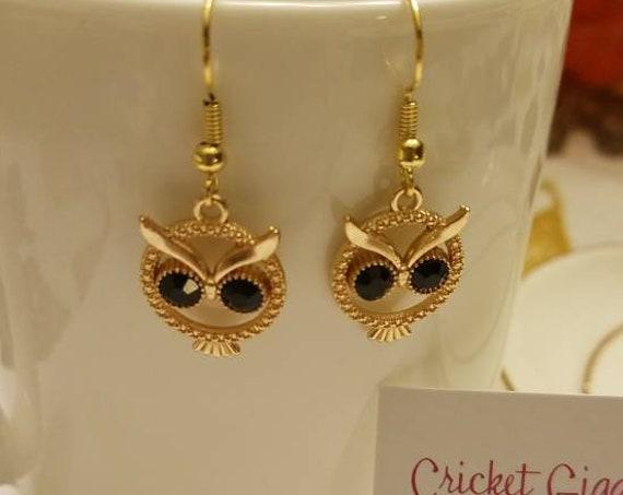 Metal & Gem Owl Dangle Earrings