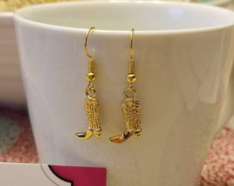 Gold Country Boots Dangle Earrings