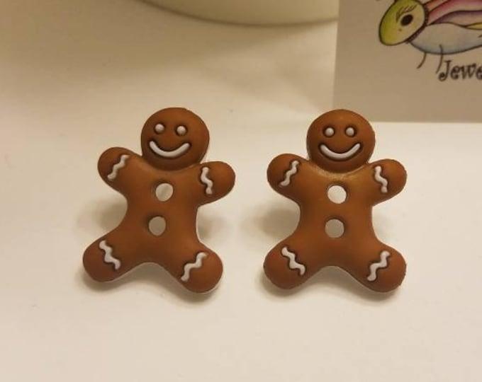 Holiday Gingerbread Men Stud Earrings