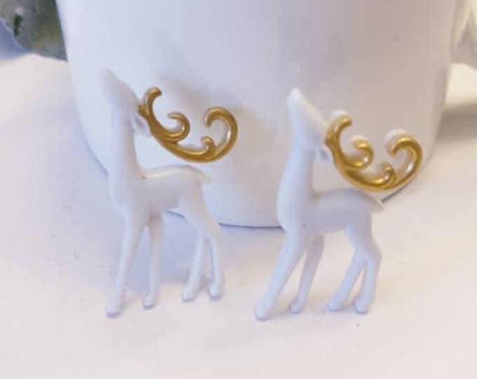 Fancy Holiday Reindeer Stud Earrings