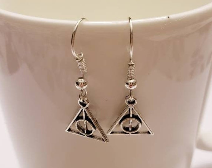 Mini Triangle Deathly Hollows Inspired Silver Dangle Earrings