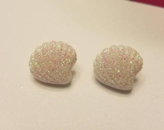 Beach Life Iridescent Shell Button Stud Earrings