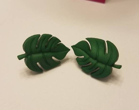 Palm Leaves Button Stud Earrings