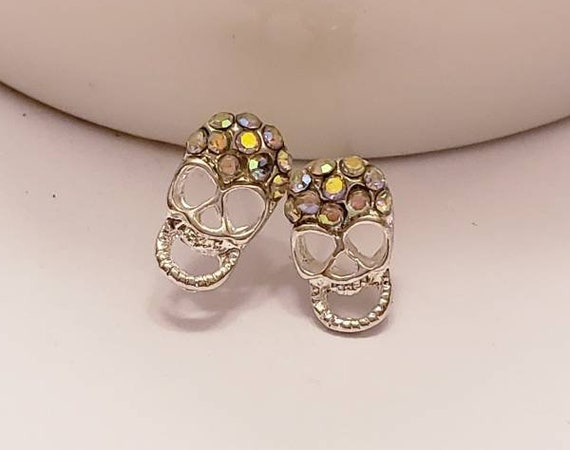 Rhinestone & Silver Mini Skull Stud Earrings