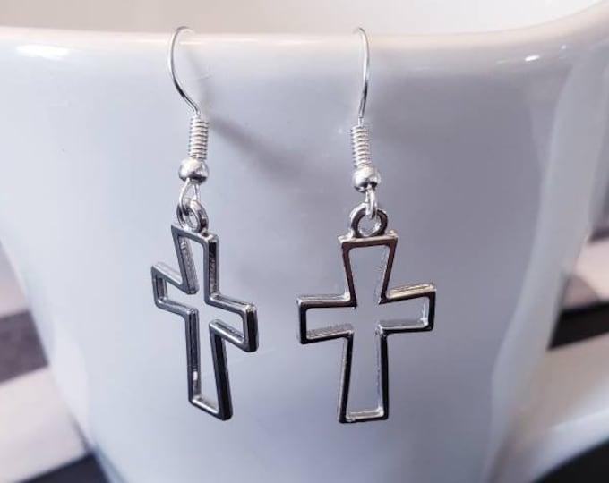 Silver Crosses Charm Dangle Earrings