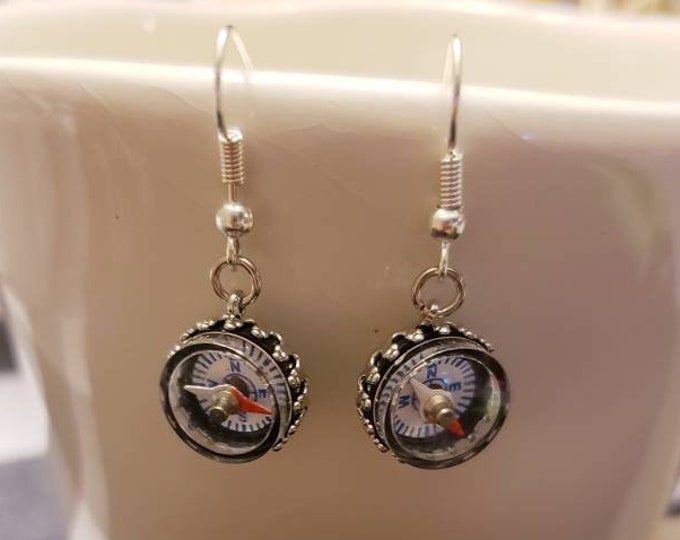 Working Compass Silver Earrings