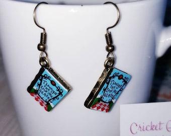 Wonderland Book Charm Dangle Earrings