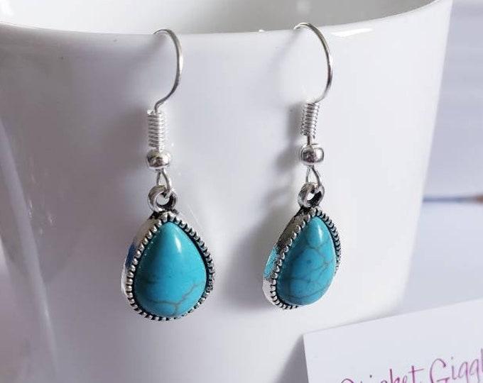 Turquoise & Silver Charm Dangle Earrings