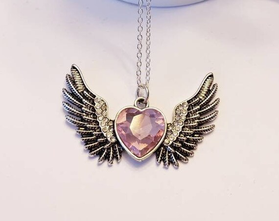 Pink Crystal Heart Love Wings Silver Necklace