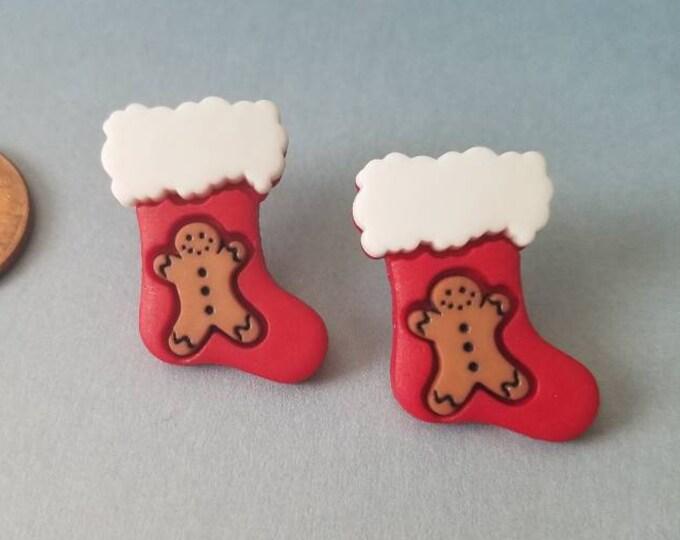 Holiday Stockings & Snowflakes Stud Earrings
