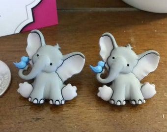 Baby Elephant Button Large Stud Earrings