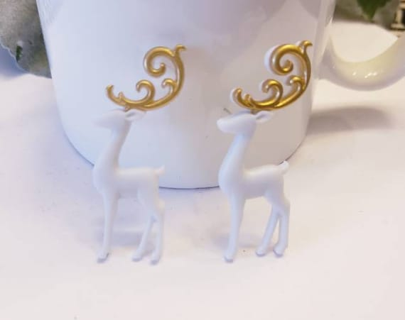 Fancy Holiday Reindeer Stud Earrings