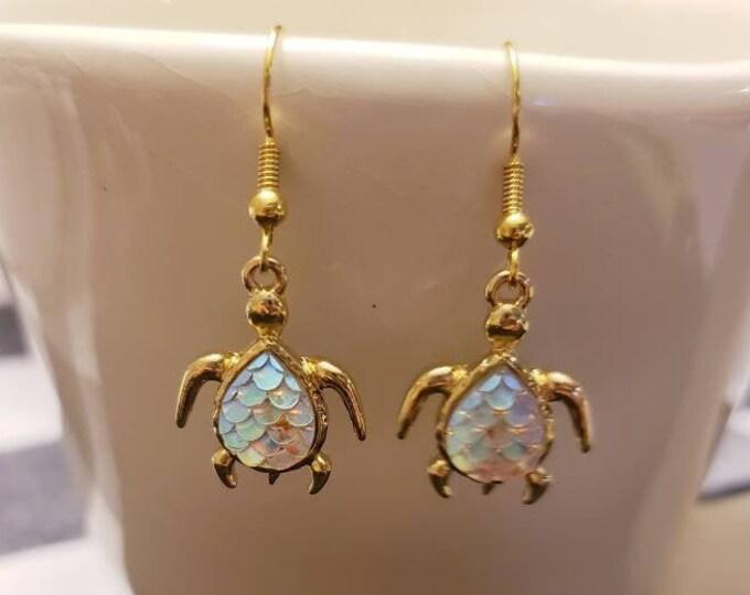 Gold & Iridescent Sea Turtle Charm Dangle Earrings