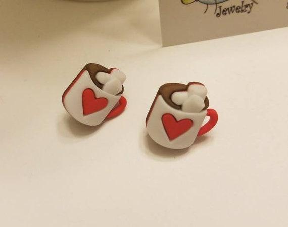 Hot Chocolate Cocoa Stud Earrings