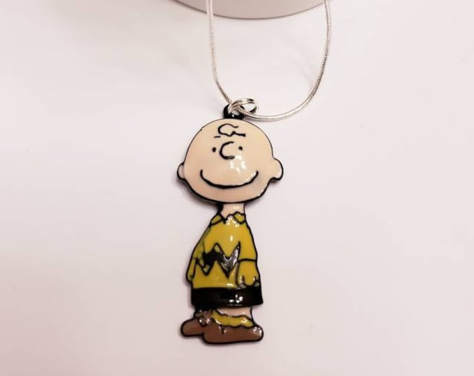 Charlie Brown, Snoopy and Friends Chunky Enamel Pendant Silver Necklace