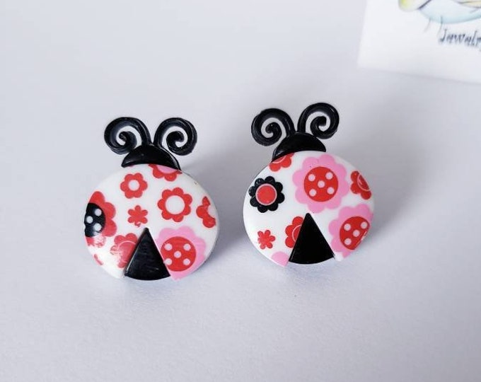 Floral Patterned Ladybug Stud Earrings