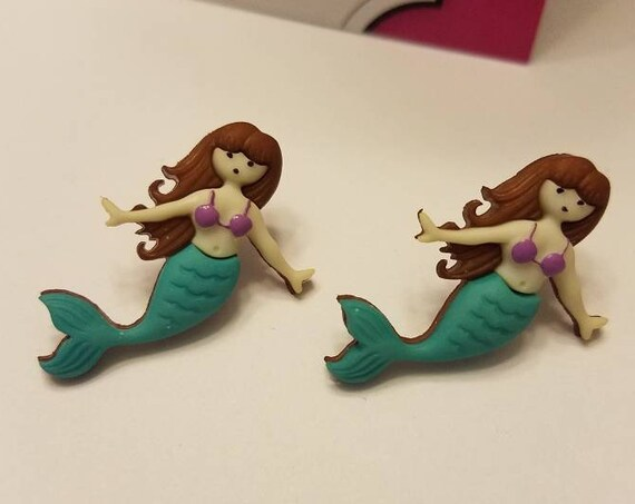 Under the Sea Mermaid Button Stud Earrings
