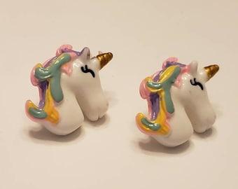 Large Rainbow Unicorn Bust Stud Earrings