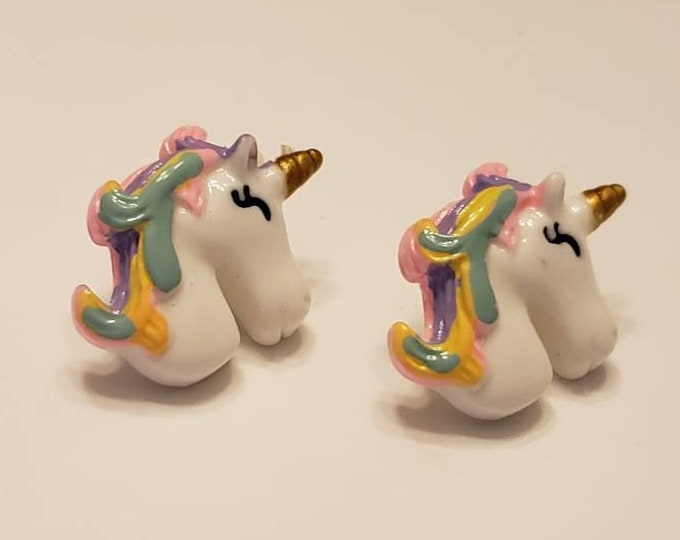 Large Rainbow Unicorn Bust Stud Earrings