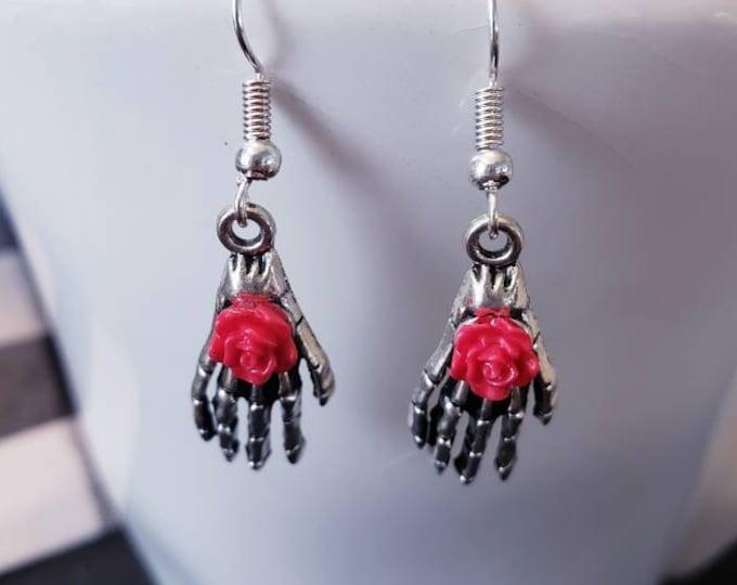 Day of the Dead Skeletal Hands Silver Dangle Earrings