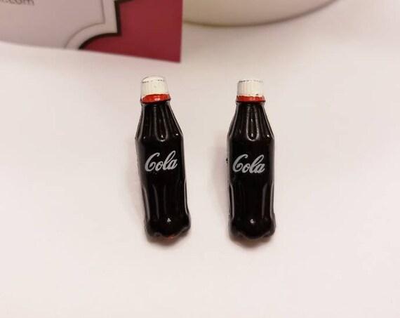 Cola Soda Bottle Button Stud Earrings