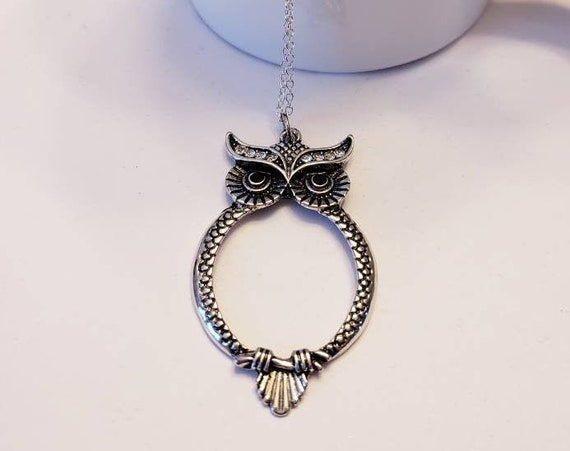 Hollow Silver Owl Necklace