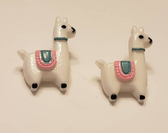 Pastel Llama Button Stud Earrings