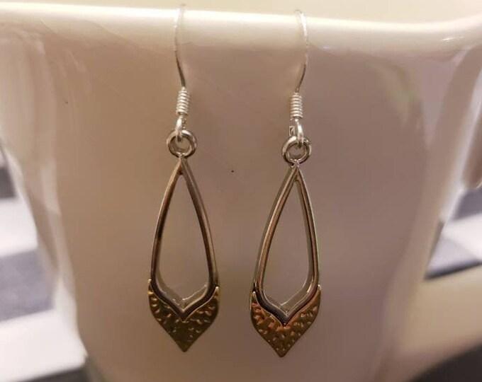 Gold & Silver Textured Teardrop Earrings