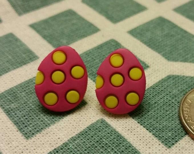 Polka Dot Easter Egg Button Stud Earrings