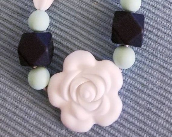 Floral and Mixed Silicone Bead Teething Necklace