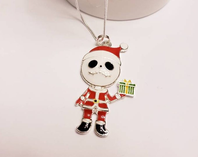Nightmare Before Christmas Santa Jack Skellington, Sally Chunky Enamel Pendant Silver Necklace