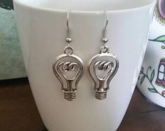 Silver Lightbulb Charm Earrings