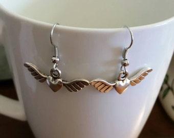 Winged Heart Charm Dangle Earrings