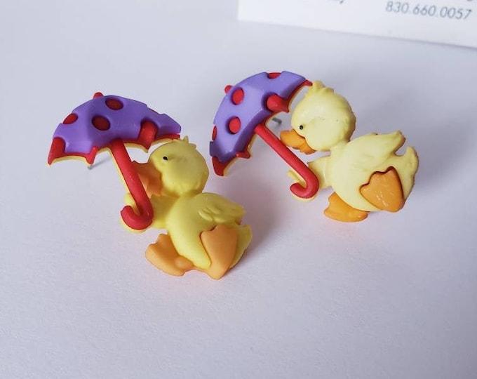 Rainy Day Duckies Button Stud Earrings