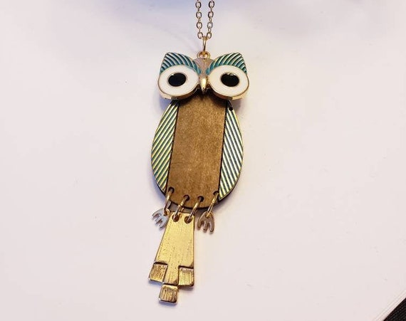 Gold, Teal and Leather Owl Necklace