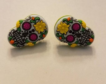 Colorful Sugar Skull Button Stud Earrings