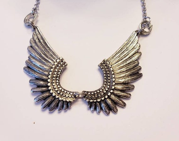 Silver Angel Wing Bib Necklace