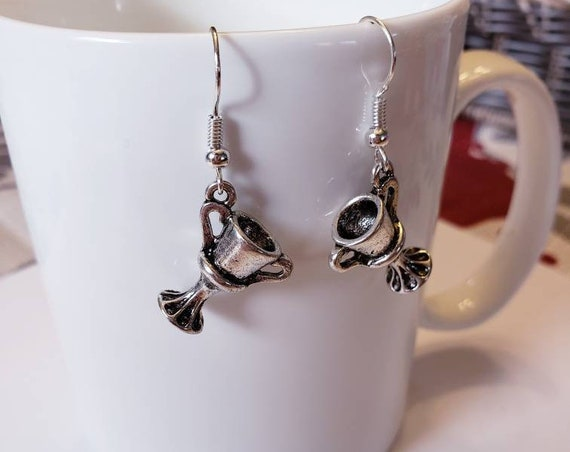 Hufflepuff Cup Inspired Silver Dangle Earrings