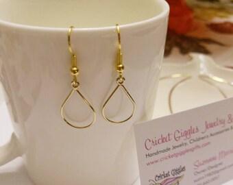 Geometric Wire Gold Dangle Earrings