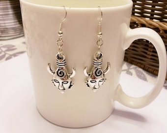 Supernatural Inspired Dean Winchester's Amulet Silver Dangle Earrings