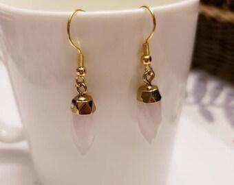 Rose Quartz Pendant Gold Dangle Earrings
