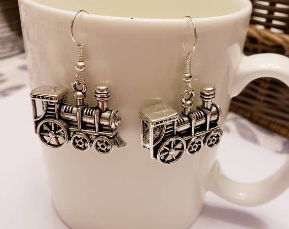Express Train Silver Dangle Earrings